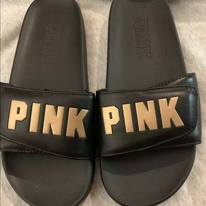 PINK BY VICTORIA'S SECRET BALCK AND GOLD SLIDES